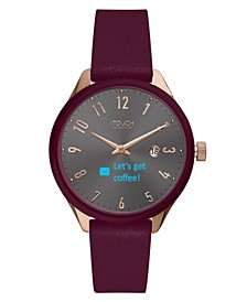 Unisex Connected Merlot Leather Strap Smart Watch 38mm