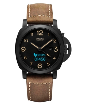 Connected Men's Hybrid Smartwatch Fitness Tracker: Black Case with Brown Leather Strap 44mm