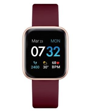 Air 3 Women's Touchscreen Smartwatch Fitness Tracker: Rose Gold Case with Merlot Strap 40mm