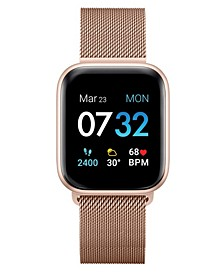 Air 3 Unisex Touchscreen Smartwatch Fitness Tracker: Rose Gold Case with Rose Gold Mesh Strap 40mm