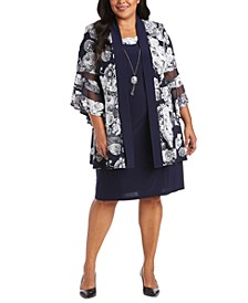 Plus Size Printed Jacket Dress