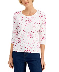 Petite Candy Heart Scoop-Neck Top, Created for Macy's
