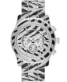 Women's Runway Silver Pave and Black Acetate Bracelet Watch 45mm