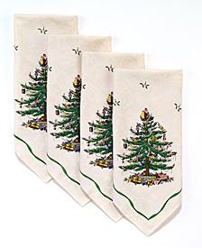 Christmas Tree Ivory/Green 4pc Napkins