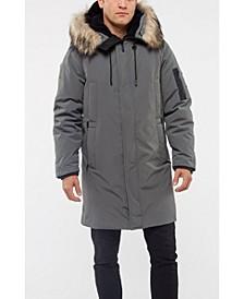 Men's Down Coat With Faux Fur Trim Jacket