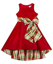 Little Girl Solid Hi-Low Dress With Plaid Bow And Lining