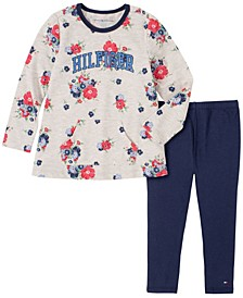 Toddler Girls 2 Piece Floral Print Tunic and Legging Set