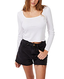 COTTON ON Women's Serena Square Neck Long Sleeve Top
