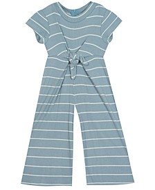 Little Girl Stripe Jumpsuit With Tie Front Detail