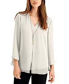 Solid V-Neck Necklace Top, Created for Macy's