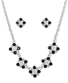 Silver-Tone Clear & Jet Crystal Statement Necklace & Stud Earrings Set, Created for Macy's