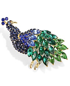 Gold-Tone Multi-Crystal Peacock Pin, Created for Macy's