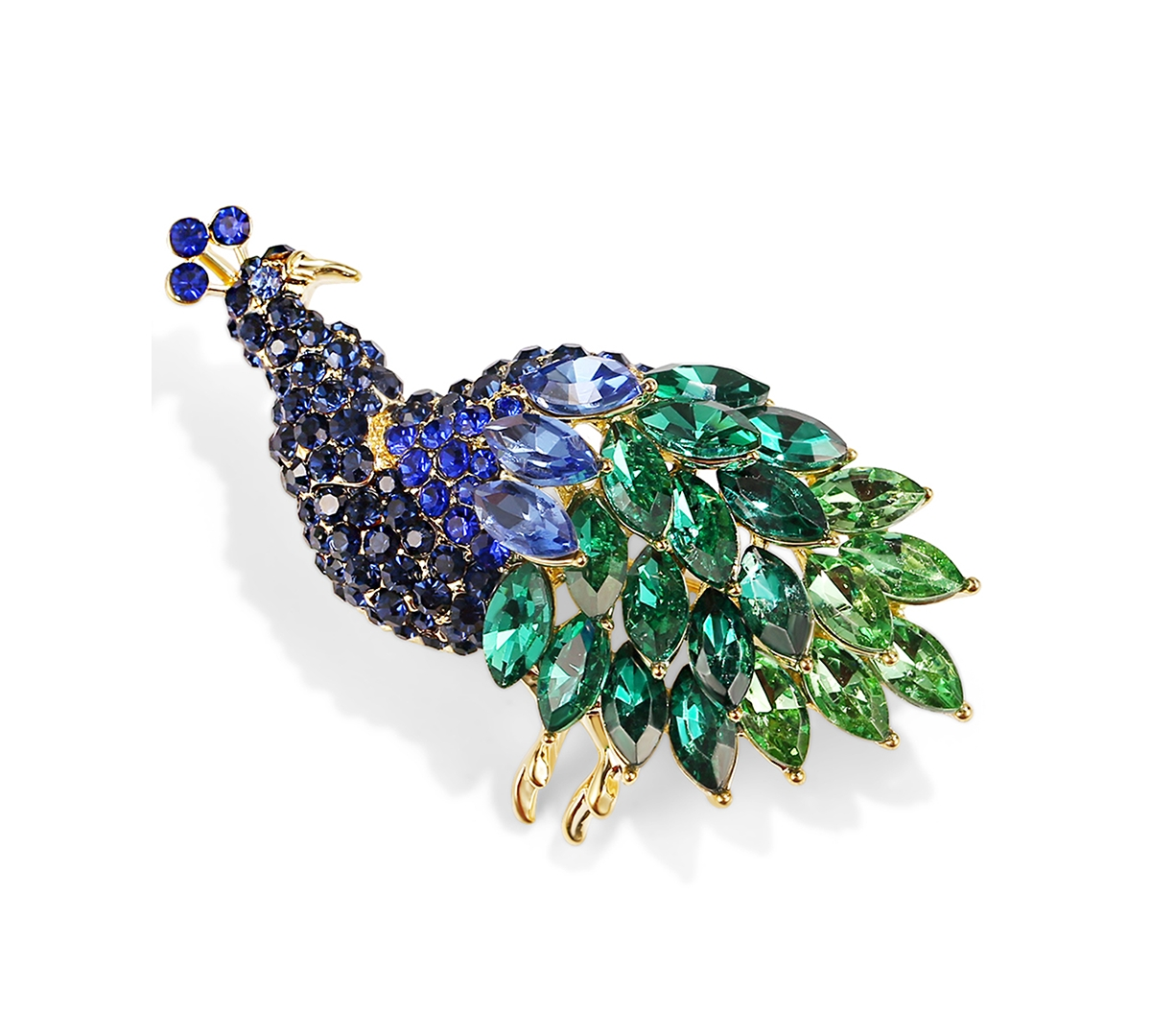 Charter Club Gold-Tone Multi-Crystal Peacock Pin, Created for Macy's