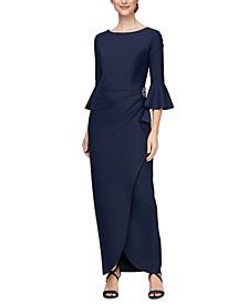 Scuba Bell-Sleeve Gown