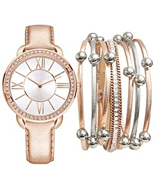 Women's Rose Gold-Tone Strap Watch 36mm Gift Set