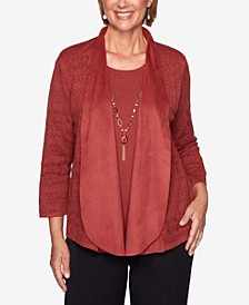 Petite Catwalk Suede Trim Pointelle Two-For-One Sweater