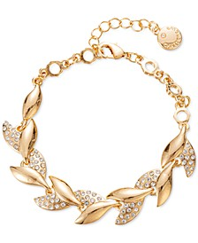 Gold-Tone Pavé Leaf Flex Bracelet, Created for Macy's