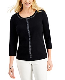 3/4-Sleeve Embellished Scoop-Neck Top, Created for Macy's