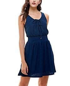 Juniors' Emma Eyelet Tie-Front Dress