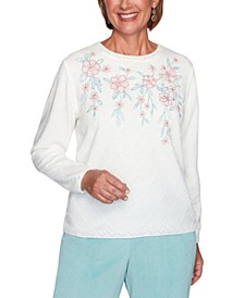 Petite St. Moritz Embroidered Chenille Sweater