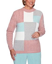 Petite St. Moritz Chenille Colorblocked Sweater