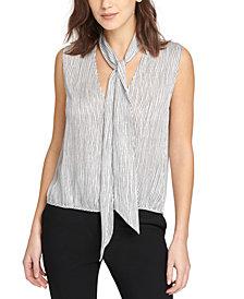 DKNY Sleeveless Striped Tie-Neck Top