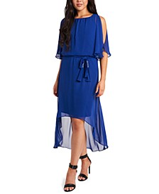 Blouson High-Low Fit & Flare Dress