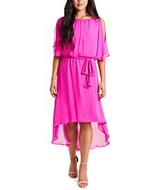 Blouson High-Low Fit & Flare Dress