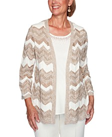 Petite Dover Cliffs Chevron Pointelle Two-For-One Sweater
