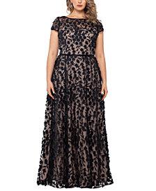 XSCAPE Plus Size 3D-Flower Gown