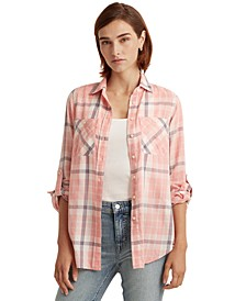 Plaid Roll-Tab Sleeve Top