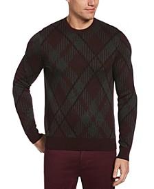 Men's Plaid Long Sleeve Crew Neck Sweater