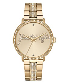 Women's Gold Tone Crystal Signature Stainless Steel Strap Analog Watch 40mm