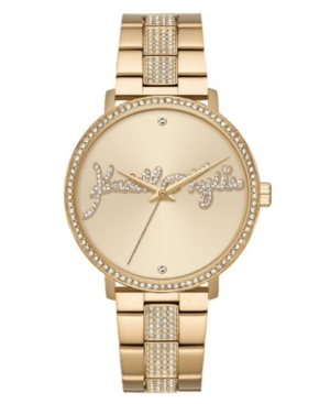 Women's Kendall + Kylie Gold Tone Crystal Signature Stainless Steel Strap Analog Watch 40mm