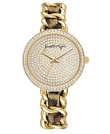 Women's Braided Leopard Stainless Steel Strap Analog Watch 40mm