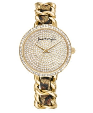 Women's Kendall + Kylie Braided Leopard Stainless Steel Strap Analog Watch 40mm