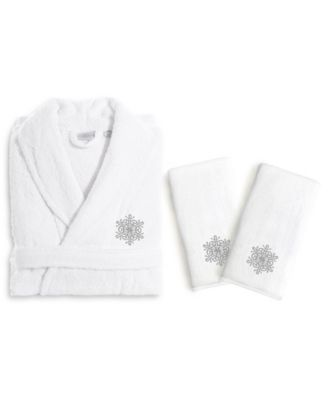 Textiles Embroidered Luxury Hand Towels and Terry Bathrobe Set - Snow Flake