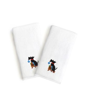 Textiles Embroidered Luxury Hand Towels - Christmas Dog Set of 2