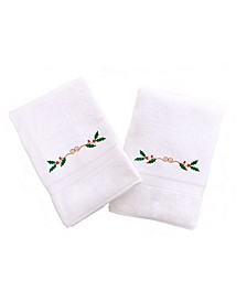 Textiles Embroidered Hand Towels with Holly Border Set of 2