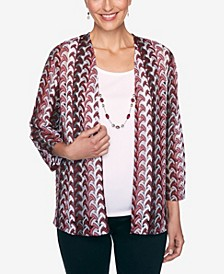 Women's Madison Avenue Lace Texture Two-for-One Top