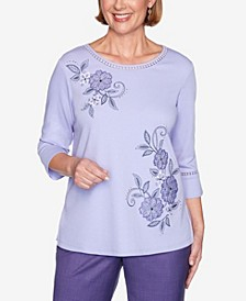 Women's Wisteria Lane Applique Flowers Bell Sleeve Top