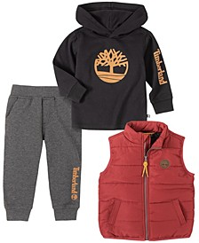 Little Boys Nylon Vest with Tee and Fleece Pant Set, 3 Piece