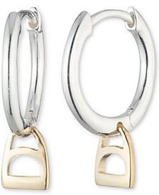 Horse Bit Dangle Hoop Earrings in Sterling Silver & 14k Gold-Plate