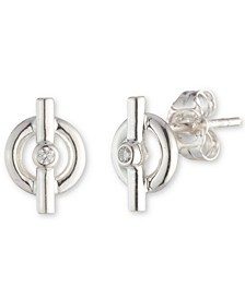 Diamond Accent Toggle-Look Stud Earrings in Sterling Silver