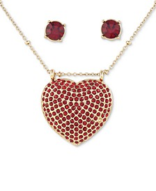 "Crystal Stud Earrings & Pavé Heart Pendant Necklace, 18"" + 3"" extender"