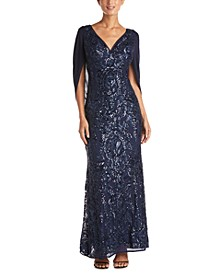 Sequin Drape-Back Cape Gown
