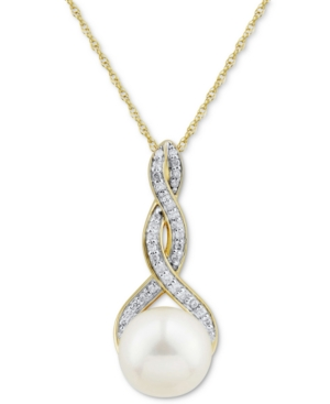 """Cultured Freshwater Pearl (9mm) & Diamond (1/10 ct. tw.) 18"""" Pendant Necklace in 14k Gold"""