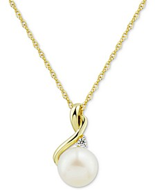 "Cultured Freshwater Pearl (8mm) & Diamond (1/10 ct. t.w.) 18"" Pendant Necklace in 10k Gold"