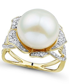 Cultured Ming Pearl (12mm) & Diamond (3/8 ct. t.w.) Flower Ring in 14k Gold