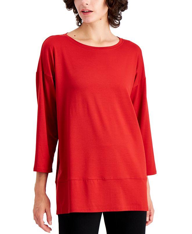 Eileen Fisher Plus Size Bracelet-Sleeve Top